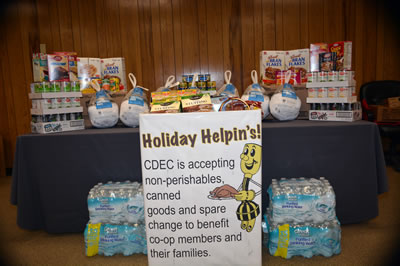 Table of donated food items